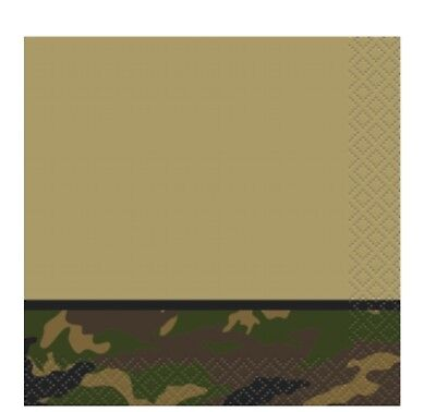 MILITARY CAMO CAMOUFLAGE SOLDIER ARMY Birthday Party Supplies Beverage NAPKINS