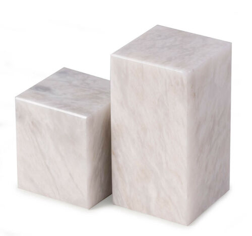 """BOOKENDS - """"WHITEHALL"""" STRIATED MARBLE CUBE DESIGN BOOKENDS"""