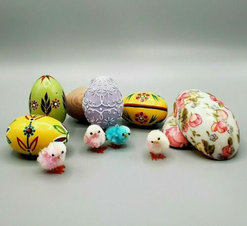 """EASTER DECOR LOT - Hand Painted Eggs, Fuzzy Chicks w/Floral Eggshell """"House"""""""