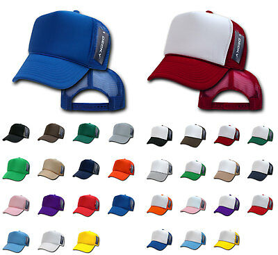 Decky Classic Trucker Hats Caps Foam Mesh Two Tone Blank Plain Solid Snapback - Blank Trucker Hats