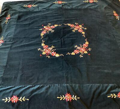 "RARE April Cornell Velvet Embroidered Floral Table Cloth Topper 57"" x 59"" HTF"