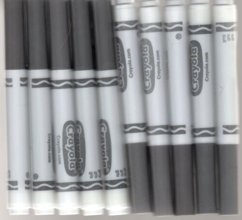 New Crayola Classic Broad Line Markers (10 Count) GRAY FREE SHIPPING!