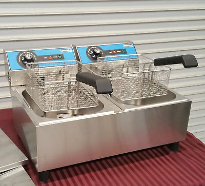 New Double Counter Top Fryer Electric Uniworld Uef-102 2715 Covers Baskets Fry