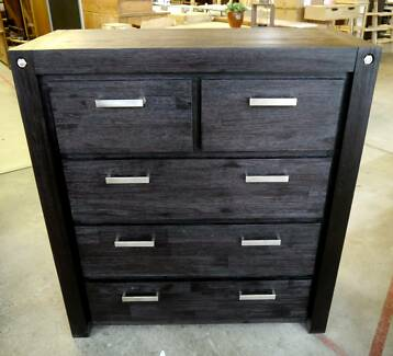RRP.$795 New Acacia Timber Bombay Tallboy Black 5 Drawer Dresser