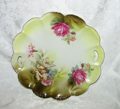 R Germany Porcelain Relish Dish with Floral Transfer S