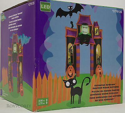 Gemmy 9 ft Lighted Halloween Animated Haunted House Archway Airblown Inflatable