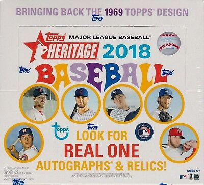 2018 Topps HERITAGE Baseball Series Factory Sealed Retail Box 24 Packs 216 Cards