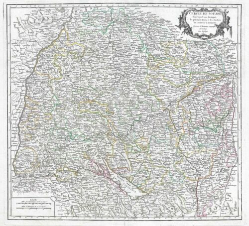 1751 Vaugondy Map of Swabia, Germany
