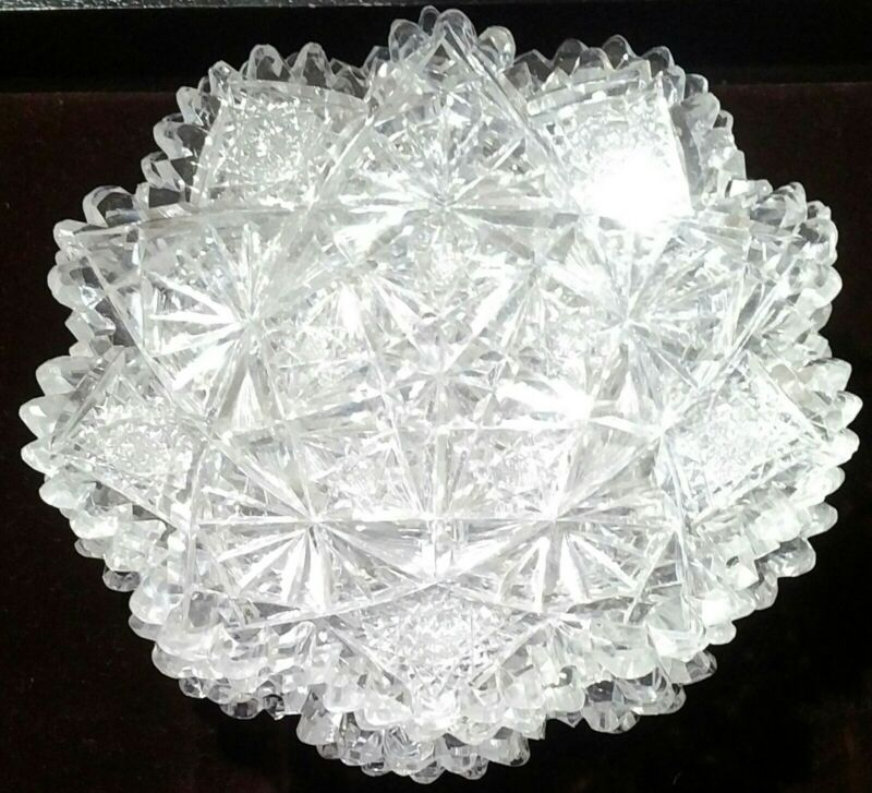 "Antique Hawkes Crystal 6"" Plates Etched Star Lace Pattern"