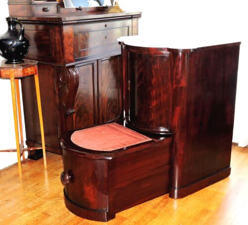 "Nightstand, rare bed step drawer, cylinder roll door, mah, 34""t, Empire, c1830"