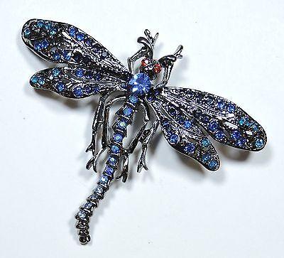 Blue Rhinestone Dragonfly Brooch Pin  JL1637