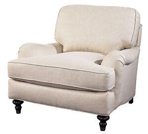WESTPORT ENGLISH ROLL ARM CHAIR  linen blend off white down cushion  FREE  S & H