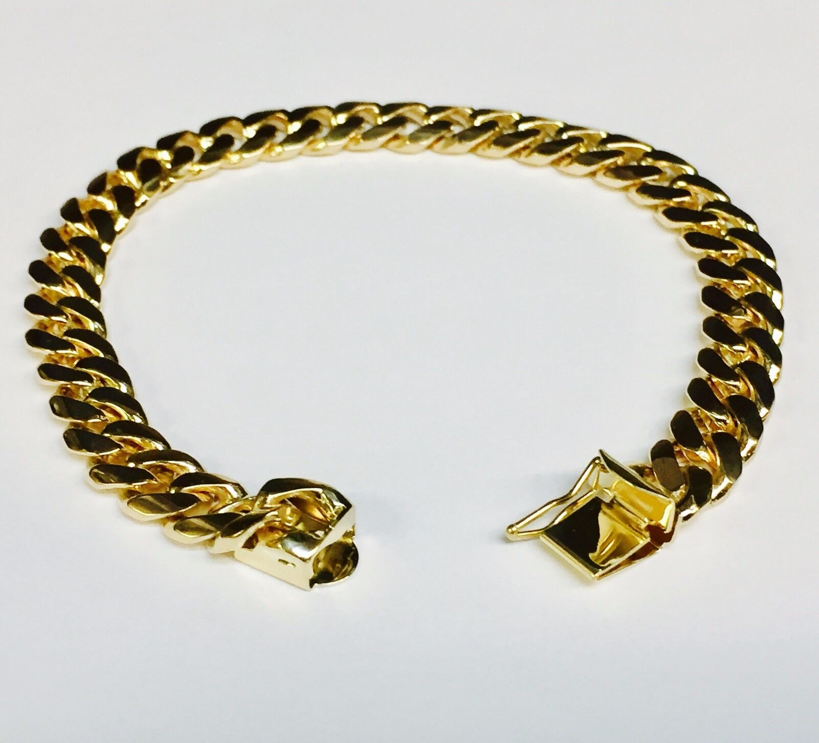 "10k Solid Yellow gold Miami Cuban Curb Link mens bracelet 7"" 26 grams 8MM"