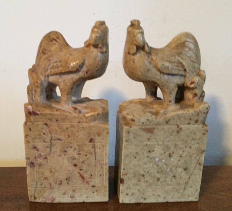 Pair Antique Chinese Carved Soapstone Book Ends Chop Seal Chicken Rooster Stone