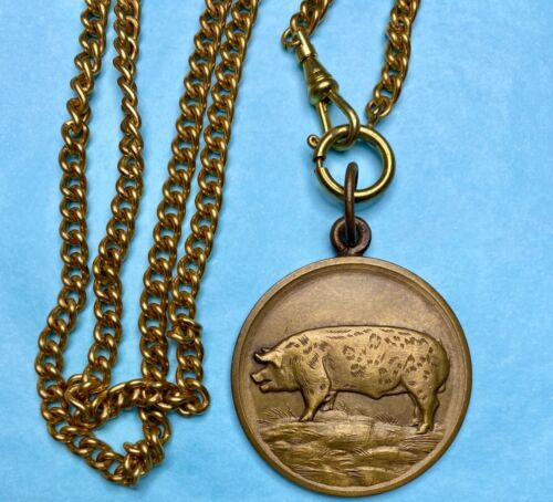 Chunky Vintage Pig Art Medal french? Necklace gold brass Pocket Watch chain xl