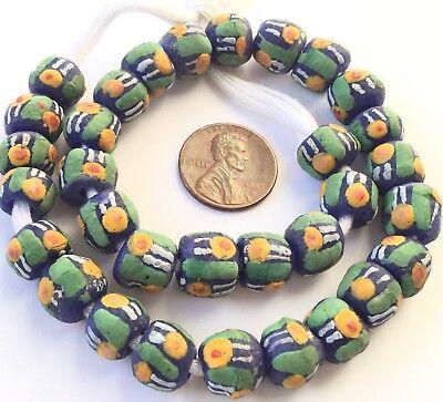- 32 Ghana handmade Cobalt Blue Multi Recycled glass African trade beads-Ghana