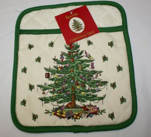 "Spode Christmas Tree Quilted Pot Holder Hot Pad Cream Ivory Green Trim 8"" x 6"""
