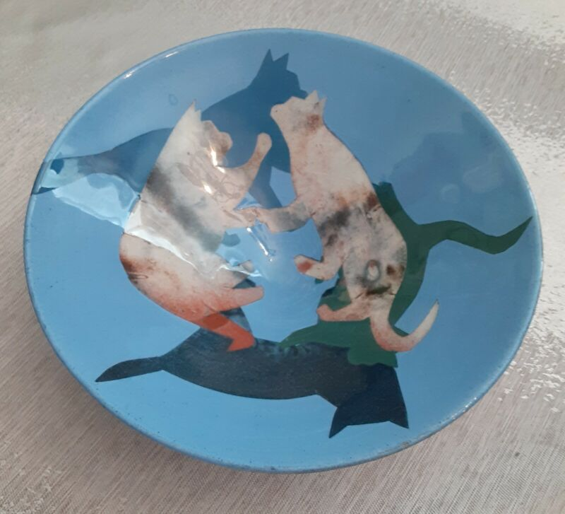 Red Clay Pottery Bowl With Cats Unusual Signed
