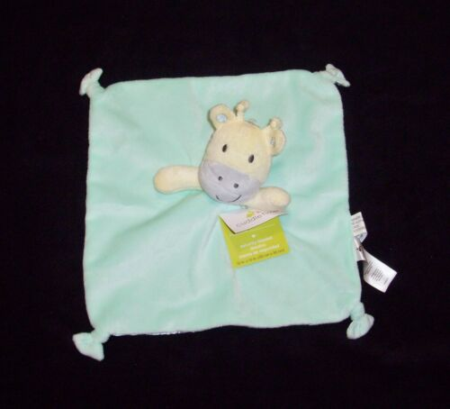 NEW Cuddle Time Cuddletime Giraffe Baby Blanket Green Grey Satin Knotted Corners