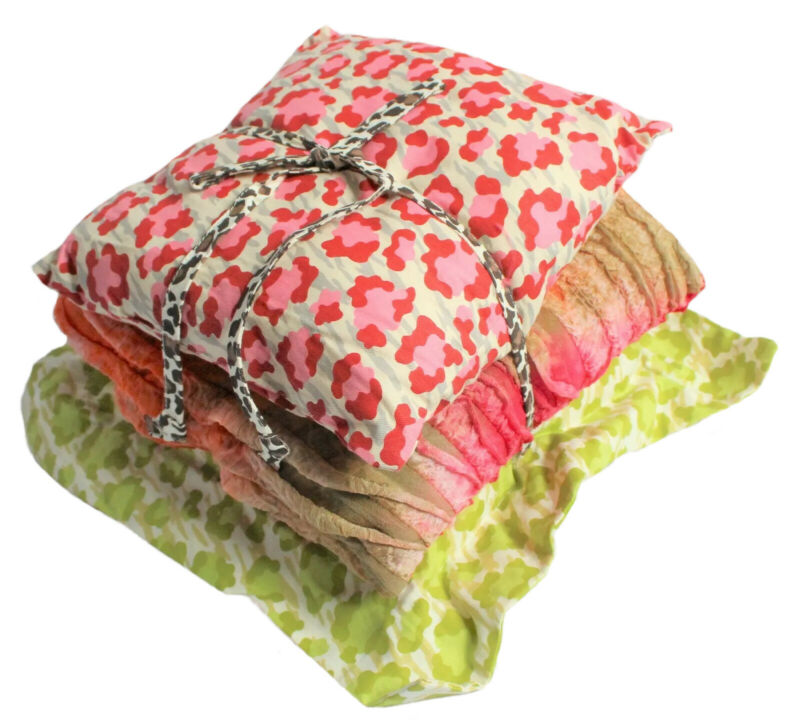 3-Pc Cotton Tale Designs Small Pillow Pack Here Kitty Kitty Pink/Green Cheetah