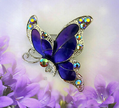 PURPLE BUTTERFLY BROOCH PIN~MOTHERS DAY BIRTHDAY GIFT FOR