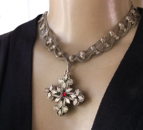 Maltese Cross Necklace Gothic Filigree 2 Sided Pendant Matching Chandelier Chain