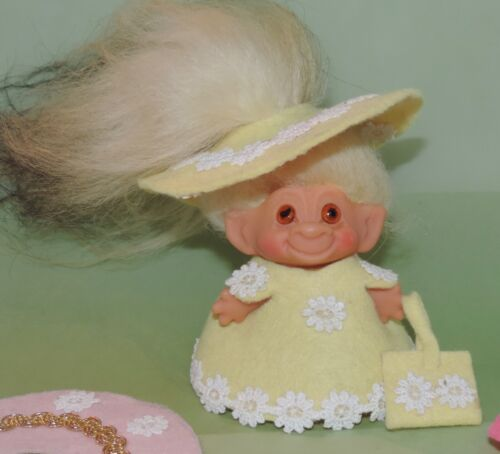"""Vintage 3"""" Dam Troll Doll Long Yellow Hair black tipped and 3 Felt Outfits 1964"""