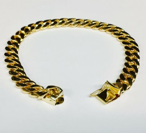 "18k Solid Yellow Gold Miami Cuban Curb Link Mens Bracelet 7.5"" 35 Grams 8mm"