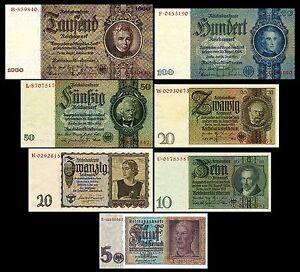 * * * 5,10,20,50,100,1000 Reichsmark,Mark,1929-1945 Deutsche Reichsbank * * *