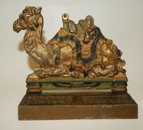 Vintage Cast Metal Iron Painted Camel Wall Mount Match Striker