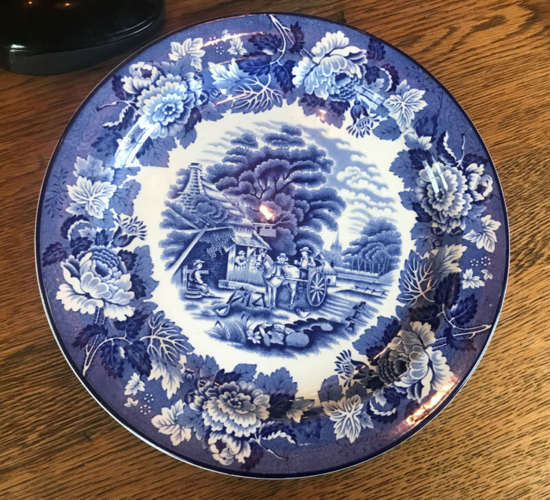 """Enoch Woods English Scenery 10"""" Dinner Plates Blue And White Wood & Sons"""