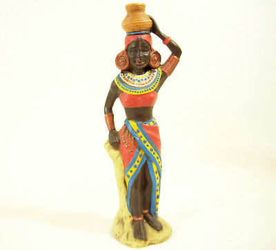 Used, AFRICAN WOMAN LADY FIGURINE HAND PAINTED COLORFUL CERAMIC FIGURE PROVINCIAL MOLD for sale  Shipping to Nigeria
