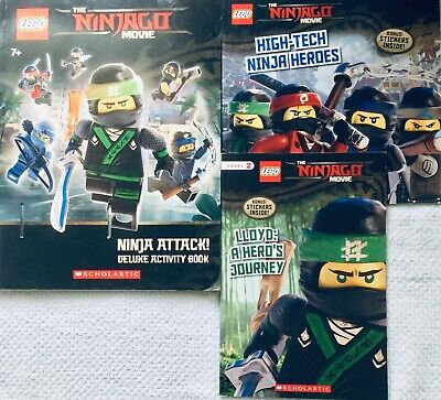 3 LEGO Ninjago Movie book lot:Activity,Level 2 Lloyd,High-Tech Heroes,stickers