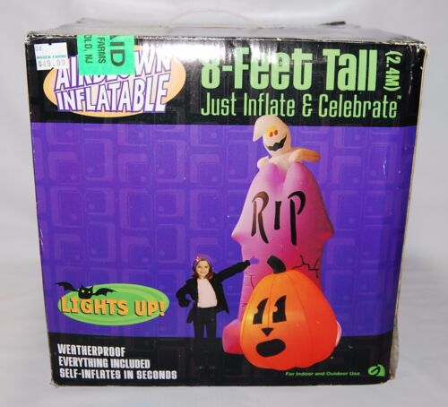 8 feet  Gemmy Airblown Inflatable Halloween Tombstone Ghost Pumpkin