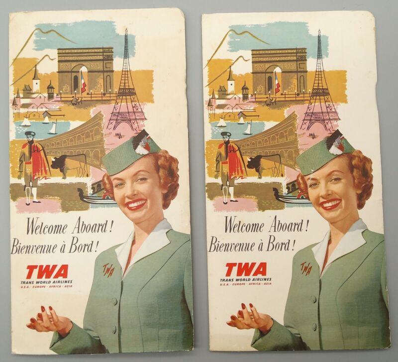 2 Vintage TWA Trans World Airlines Welcome Aboard with Air Routes, Postcards +++