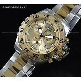 NEW Invicta Mens 2 Tone 18K Gold Plated Stainless Steel Chronograph Tachy Watch