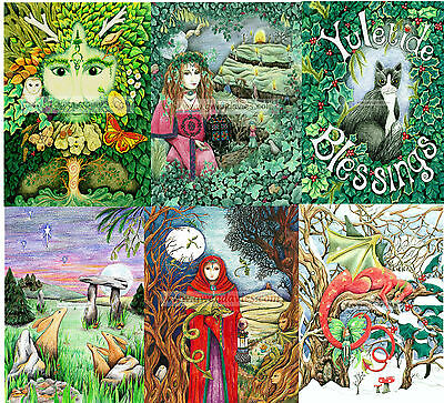 Value pack of six (6) Christmas cards Yule Pagan Solstice Wicca blank drawn -