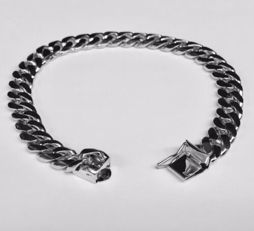 "18k Solid White Gold Miami Cuban Curb Link Mens Bracelet 8"" 40 Grams 8mm"