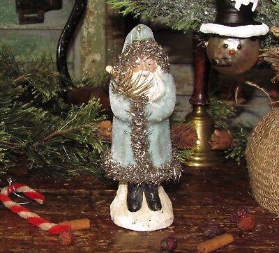 Primitive Antique Vtg Style Blue Velvet BELSNICKLE Christmas SANTA - Blue Santa