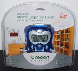 NEW Oregon Scientific Self-Setting Atomic Projection Clock + Indoor Thermometer