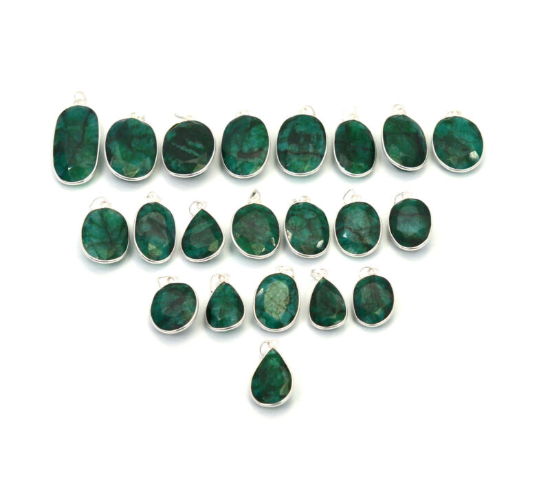 WHOLESALE 21PC 925 SOLID STERLING SILVER FACETED GREEN EMERALD PENDANT LOT  1 L4