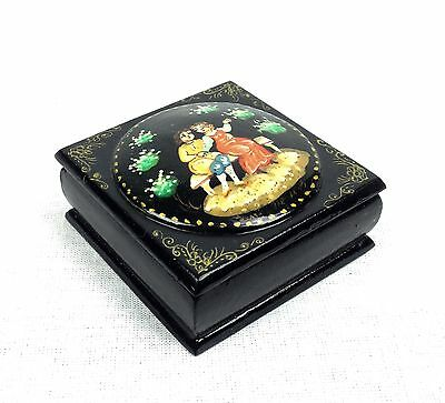 Russian Lacquer Box / Trinket Box / Lacquered Collectable Vintage Fairytale