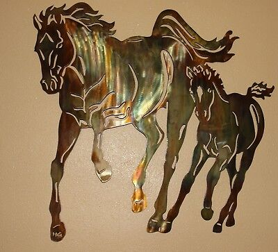 - Mom & Me Running Horse Pair Metal Wall Art Decor by HGMW