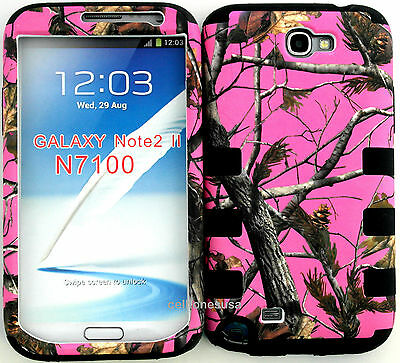 Cover Case for Samsung Galaxy Note 2 N7100 Pink Camo Mossy Oak with Black Skin on Rummage