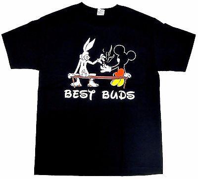 Marijuana T-shirt Best Buds Bugs Mickey Weed 420 Smoke Tee Adult Men Black New
