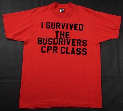 Rare Vintage BEST I Survived The Bus Drivers CPR Class T Tee Shirt 70s 80s Red (Best Class T Shirts)