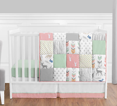 Sweet Jojo Bumperless Coral Mint Forest Animal Baby Girls 4pc Bedding Crib Set