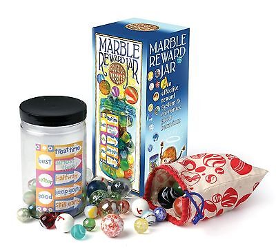 School Project and Childrens' MARBLE REWARD JAR with 50 Glass Marbles HOM