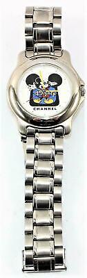 EUC Vintage Disney Channel Mickey Mouse Silver Tone Quartz Unisex Wrist Watch