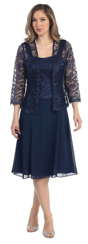 NEW FORMAL EVENING SHORT GOWN MOTHER of THE BRIDE GROOM DRESS CHURCH & PLUS SIZE
